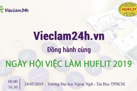 "Vieclam24h.vn dong hanh cung ""Ngay hoi viec lam HUFLIT 2019"""